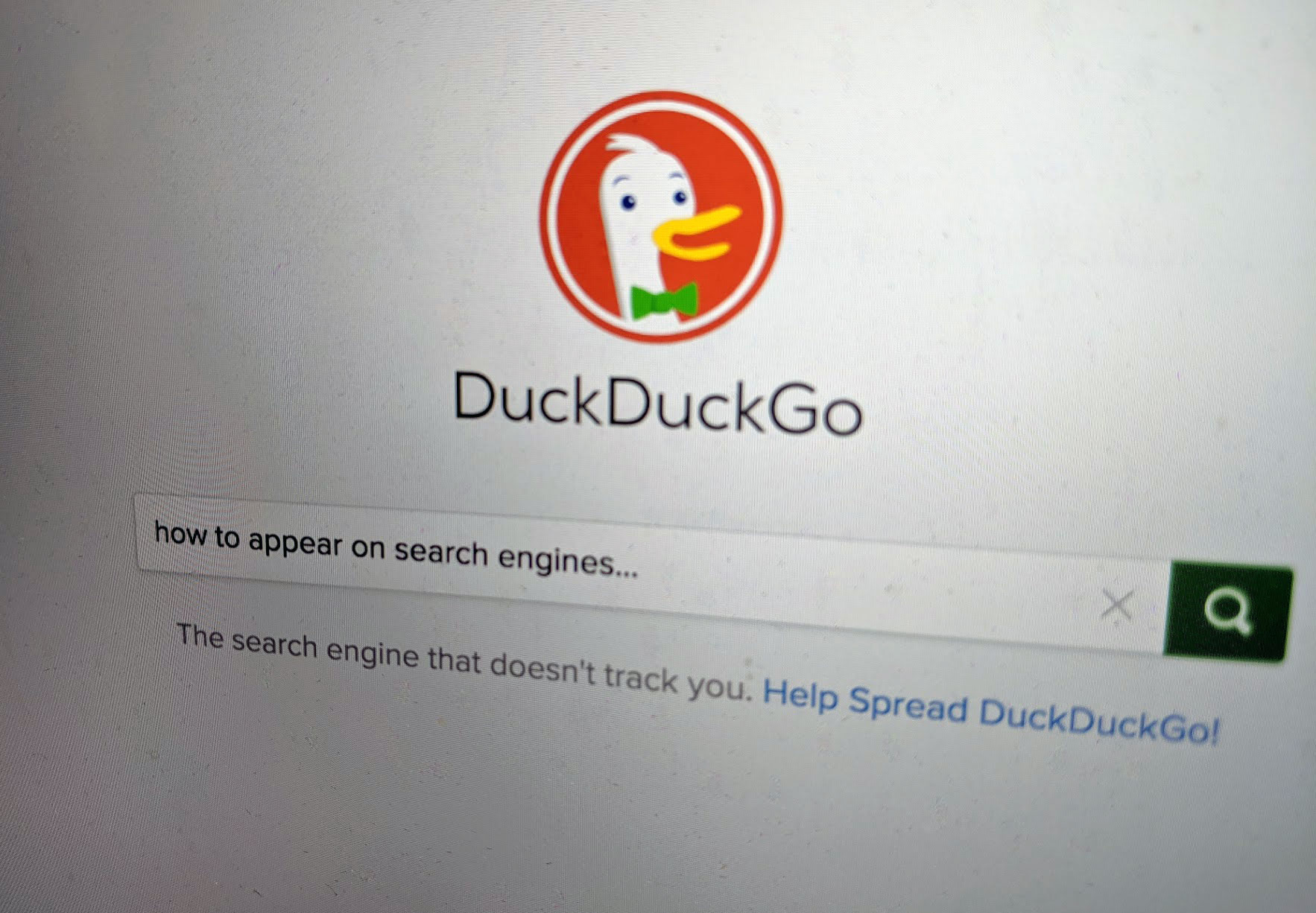 how to appear in search engines typed into Duck Duck Go
